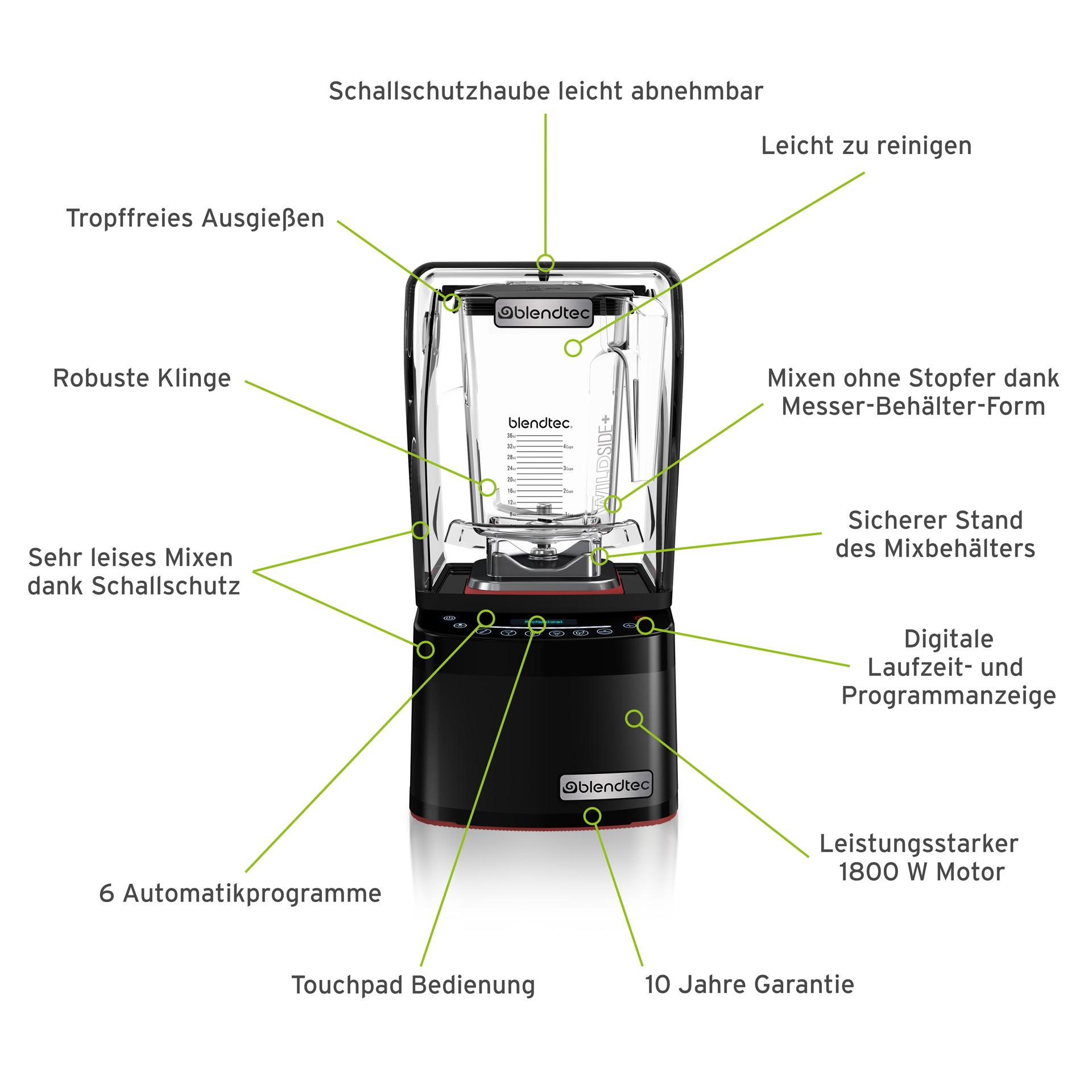 Blendtec Professional 800 Mixer inkl. WildSide+ Behälter mit Schweizer Stecker