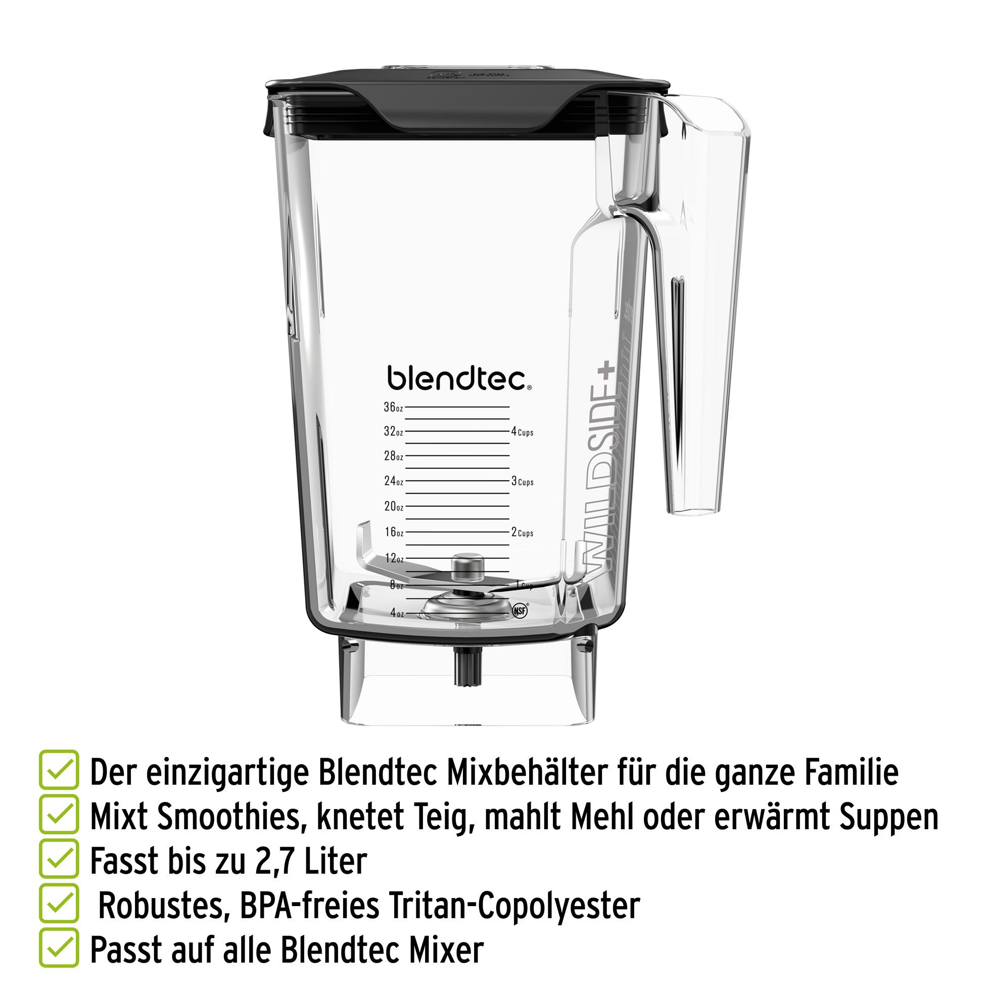 Blendtec WildSide Mixbehälter mit bis zu 2,7 Liter Fassungsvermögen