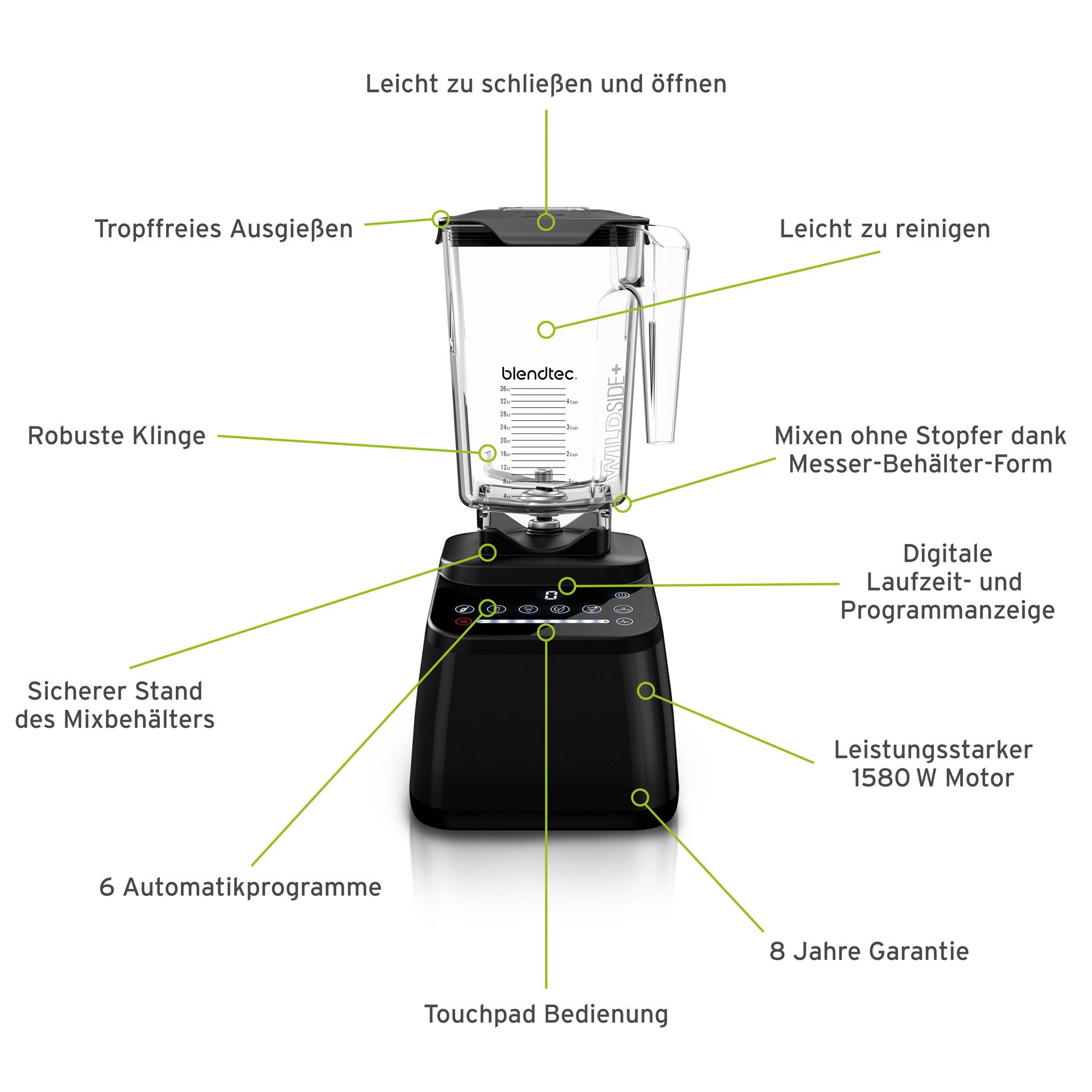 Blendtec Designer 650 Mixer inkl. WildSide+ Behälter mit Schweizer Stecker