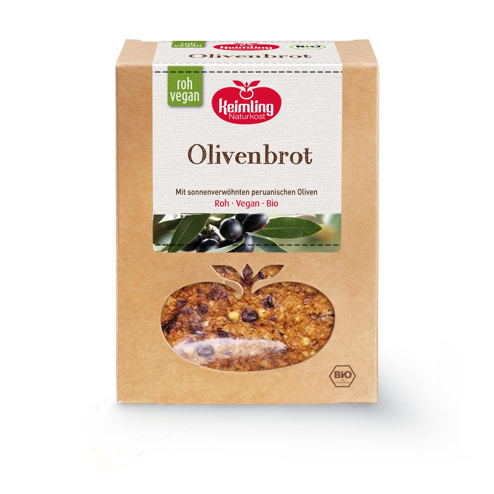 Rohkost Olivenbrot von Keimling Naturkost aus Bio Zutaten, gluten- und hefefrei